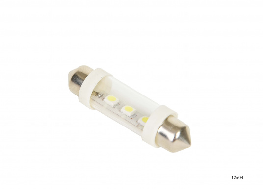 Festoon modules as replacement bulb for 5 - or 10-watt standard festoon lamps. 12 V. A3 LEDs, white.