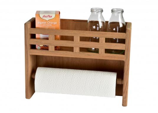 Besonders praktisch! Küchenrollenhalter und Gewürzbord in einem, gefertigt aus hochwertigem Teak.