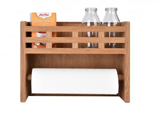 Besonders praktisch! Küchenrollenhalter und Gewürzbord in einem, gefertigt aus hochwertigem Teak. (Bild 2 von 2)
