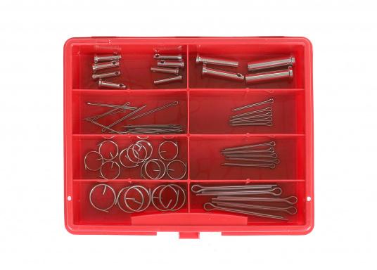 Questo assortimento di pezzi in acciaio inossidabile contiene 4 misure diverse diperni, 4 misure di coppiglie e 3 misure die gli anelli a coppiglia. 62 pezzi totali.