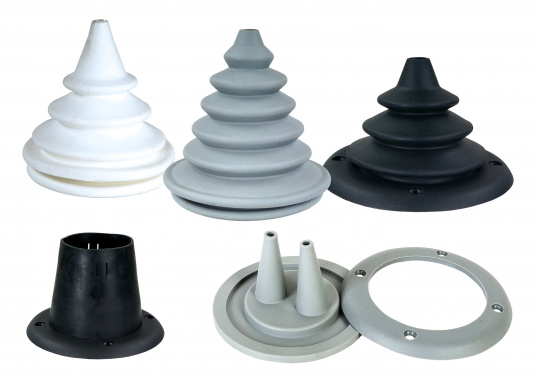 Faltenbälge aus hochwertigem Polyurethan-Gummi für die Durchführung von Steuerkabeln, Elektroleitungen und Benzinschläuchen. Ein Kabelschutzsystem ist separat erhältlich.
