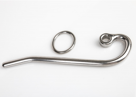 Gancio per stralletto in acciaio inossidabile. Disponibile in quattro diverse misure. Fornito con anellodi sicurezza di fissaggio, inacciaio inossidabile. Facile da aprire e chiudere.  (Immagine 2 di 2)