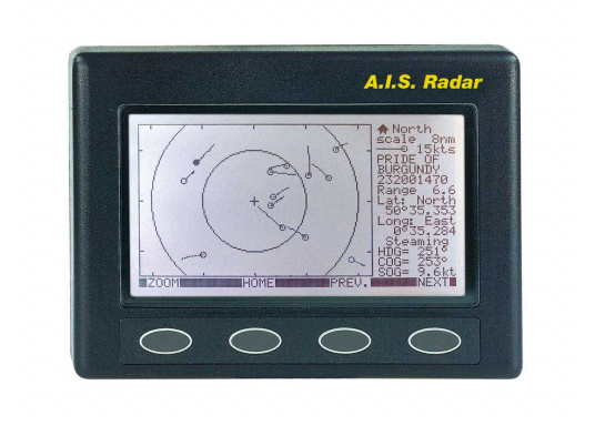 Kompakter UKW-Empfangseinheit zum Empfang von AIS-Daten der umliegenden Schiffe. Folgende Werte werden angezeigt: Kurs, Geschwindigkeit, Name, MMSI-Nummer und diverse andere Daten.