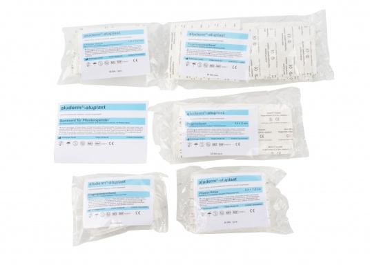 Hier bieten wir Ihnen das Nachfüllset für den Pflasterspender. Es besteht aus 90 Teilen und enthält Pflaster aus aluderm® aluplast in verschiedenen Größen. (Bild 2 von 2)