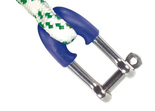 Fallschäkel aus rostfreiem Edelstahl mit Polypropylen-Kopf. Ideal zum Verspleißen. Lieferbar mit Bolzen-Ø: 8 oder 10 mm.