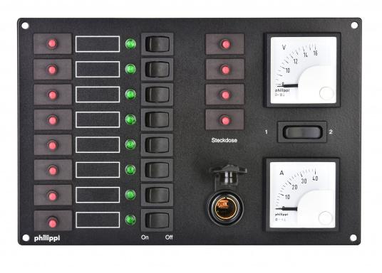 8 Stromkreise mit thermischen Schutzschaltern, Leuchtdiodenanzeigen und Wippschaltern. Ausstattung: 4 zusätzliche Schutzschalter, abgesicherten Kleinsteckdose, 12 V Voltmeter, Amperemeter mit Drehspulmeßwerken.