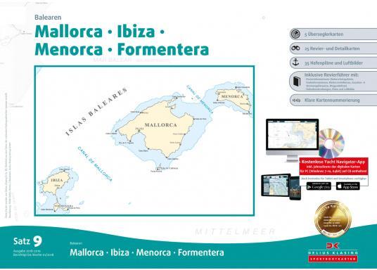 DK Chart Pack 9 -Balearic Islands: Mallorca, Ibiza, Menorca, Formentera. 4 passage charts, 20 charts, 33 marina charts, waypoints list.