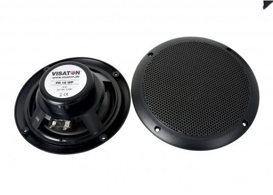 Absolut seewasser- und korrosionsbeständige Lautsprecher für den Einbau im Cockpit. Hergestellt aus robustem Kunststoff, alle Kontakte versiegelt. Lieferbar in 2 Größen: 40 Watt und 60 Watt, jeweils paarweise in schwarz.  (Bild 2 von 3)