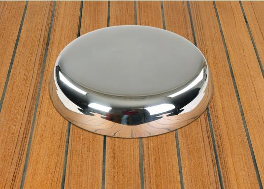 Presa d'aria elegante, in acciaio inossidabile lucido, dotata di zanzariera e flangia di installazione. Può essere chiusa completamente. Disponibile in tre dimensioni. (Immagine 2 di 6)
