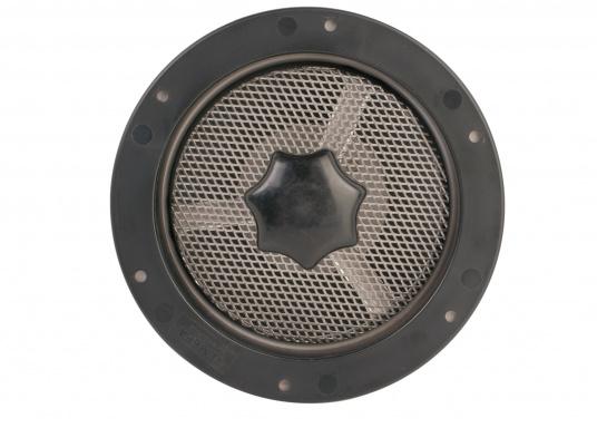 Presa d'aria elegante, in acciaio inossidabile lucido, dotata di zanzariera e flangia di installazione. Può essere chiusa completamente. Disponibile in tre dimensioni. (Immagine 5 di 6)