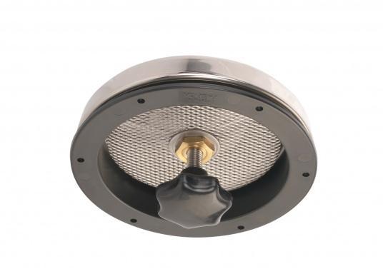 Presa d'aria elegante, in acciaio inossidabile lucido, dotata di zanzariera e flangia di installazione. Può essere chiusa completamente. Disponibile in tre dimensioni. (Immagine 4 di 6)