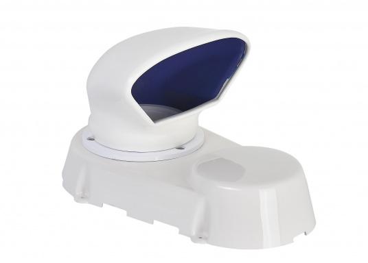 Lüfter aus robustem Kunststoff, absolut wasserdicht. Lieferumfang komplett mit Lüfter, Lüfter-Manschette, Verschlussklappe und Schutzmuffe für den Ausschnitt. Erhältlich in zwei Größen.
