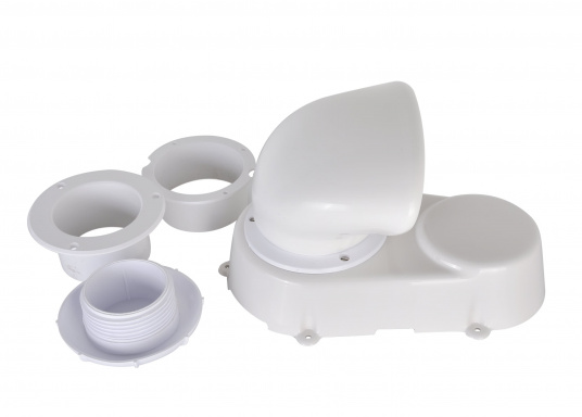Lüfter aus robustem Kunststoff, absolut wasserdicht. Lieferumfang komplett mit Lüfter, Lüfter-Manschette, Verschlussklappe und Schutzmuffe für den Ausschnitt. Erhältlich in zwei Größen.  (Bild 7 von 7)
