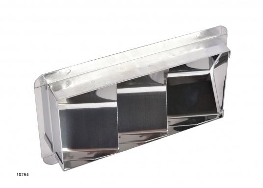 Ces bouches et collecteurs sont en acier inox. Les bouches d'aération sont disponibles en trois tailles et conviennent aux systèmes de ventilation de cales moteur. Les collecteurs reçoivent des conduits de 75 mm.  (Image 3 de 13)