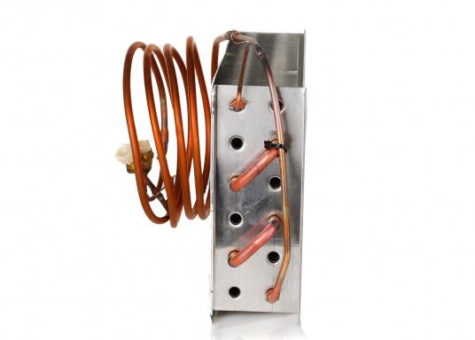 Der Kupfer-Aluminium-Lamellenverdampfer hat eine große Oberfläche und bietet somit hervorragende Kühleigenschaften durch Kühllamellen. Er ist besonders geeignet für hohe Umgebungstemperaturen und große Kühlrauminhalte.  (Bild 2 von 6)