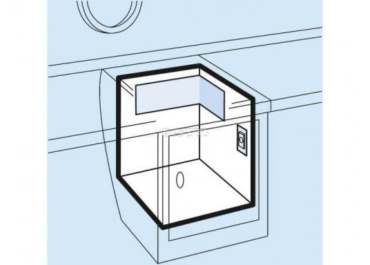 Der Winkelverdampfer ist geeignet für Kühlrauminhalte mit 160 Liter bis 180 Liter bei 35 bzw. 50 mm PU-Isolierung. Tiefkühlung ist bis 70 Liter möglich.  (Bild 2 von 3)