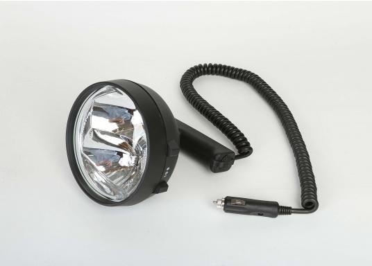 Kompakter, leistungsstarker und wasserdichter Suchscheinwerfer. Zwei praktische Schalter erlauben ein schnelles Umschalten zwischen Nahbereich und Fernbereich. Der doppelte FF-Reflektor sorgt für eine exakte Lichtsteuerung.  (Bild 2 von 9)