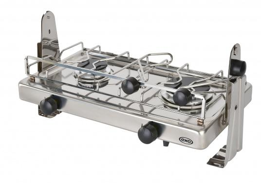 2-burner gas stove in stainless steel housing with ignition safety. DVGW approved. Delivered including semi-gimballed mounting and pot holder. Burner: 1.75 and 2.5 kW,pressure: 30 mbar.