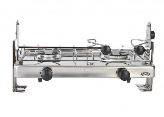 2-burner gas stove in stainless steel housing with ignition safety. DVGW approved. Delivered including semi-gimballed mounting and pot holder. Burner: 1.75 and 2.5 kW,pressure: 30 mbar.  (Image 2 of 5)