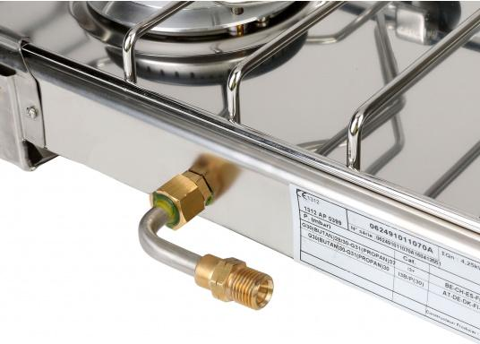 2-burner gas stove in stainless steel housing with ignition safety. DVGW approved. Delivered including semi-gimballed mounting and pot holder. Burner: 1.75 and 2.5 kW,pressure: 30 mbar.  (Image 5 of 5)