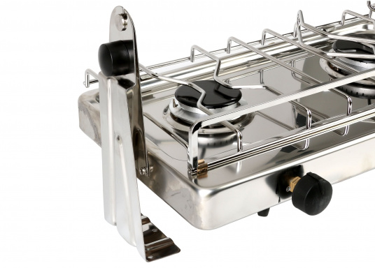2-burner gas stove in stainless steel housing with ignition safety. DVGW approved. Delivered including semi-gimballed mounting and pot holder. Burner: 1.75 and 2.5 kW,pressure: 30 mbar.  (Image 3 of 5)