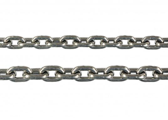 chains made of stainless steel (V4A stainless steel 1.4401)  short-linked according to DIN 766  suitable for use on windlasses  available in lengths up to 100 meters