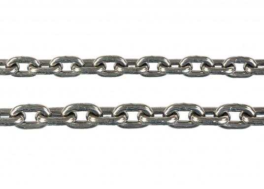 Ankerketten aus Edelstahl (V4A, Niro 1.4401)  kurzgliedrig nach DIN 766  für den Einsatz auf Ankerwinden geeignet  in Längen bis zu 100 Meter lieferbar