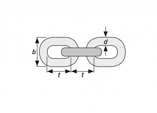 Ankerketten aus Edelstahl (V4A, Niro 1.4401)  kurzgliedrig nach DIN 766  für den Einsatz auf Ankerwinden geeignet  in Längen bis zu 100 Meter lieferbar   (Bild 2 von 2)