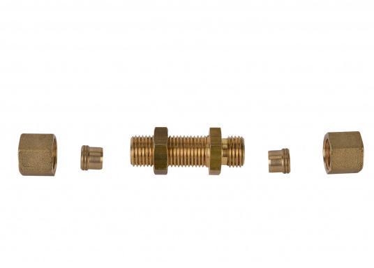 Messing Schottdurchführung in gerader Ausführung.Passend für 8 mm Rohre.  (Bild 2 von 4)