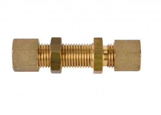 Messing Schottdurchführung in gerader Ausführung.Passend für 8 mm Rohre.