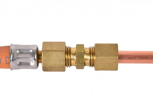 Messing Rohr-Verschraubung, passend für 8 mm Rohre. In der Ausführung: gerade.  DIN / DVGW geprüft. (Bild 4 von 4)