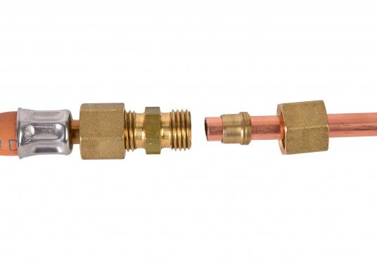 Messing Rohr-Verschraubung, passend für 8 mm Rohre. In der Ausführung: gerade.  DIN / DVGW geprüft. (Bild 3 von 4)