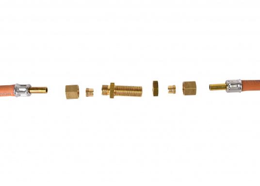 Messing Rohr-Verschraubung, passend für 8 mm Rohre. In der Ausführung: gerade.  DIN / DVGW geprüft. (Bild 2 von 4)
