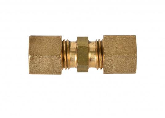 Messing Rohr-Verschraubung, passend für 8 mm Rohre. In der Ausführung: gerade.  DIN / DVGW geprüft.
