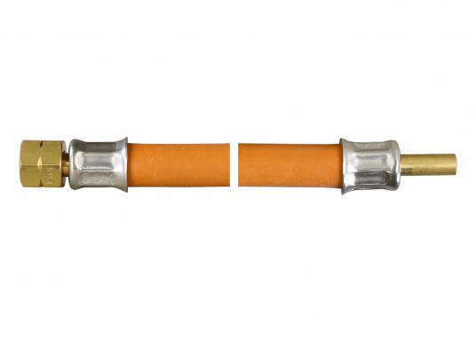 Zugelassener, geprüfter Gas-Druckschlauchmit Messingverschraubungfür den Marine-Bereich.