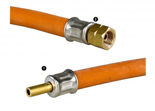 Zugelassener, geprüfter Gas-Druckschlauchmit Messingverschraubungfür den Marine-Bereich.  (Bild 2 von 2)