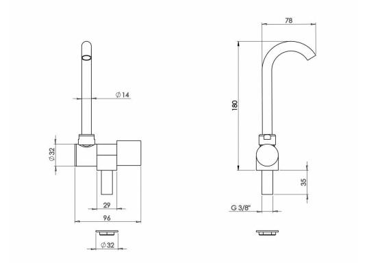 Kompakt und schick. Der Wasserhahn aus verchromtem Messing ist als Zweigriff-Mischer oder als Einzelhahn lieferbar. Die Wasserausläufe sind dreh- und schwenkbar.  (Bild 3 von 6)