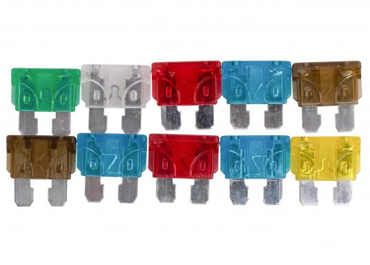 Das Sicherungssortiment ATO enthält ingesamt 10 Sicherungen: 2x 7,5 A / 2x 10 A / 3x 15 A / 1x 20 A / 1x 25 A / 1x 30A.
