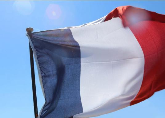 Robuste Nylon-Flaggen mit offiziellem Landesflaggen-Druck: Frankreich. Hochwertige Verarbeitung mit 100%-Durchdruck, schnelle und einfache Befestigung.  (Bild 3 von 4)