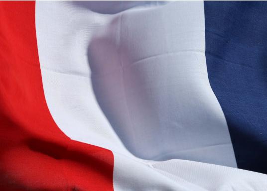 Robuste Nylon-Flaggen mit offiziellem Landesflaggen-Druck: Frankreich. Hochwertige Verarbeitung mit 100%-Durchdruck, schnelle und einfache Befestigung.  (Bild 4 von 4)