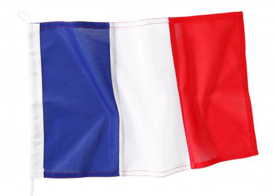 Robuste Nylon-Flaggen mit offiziellem Landesflaggen-Druck: Frankreich. Hochwertige Verarbeitung mit 100%-Durchdruck, schnelle und einfache Befestigung.