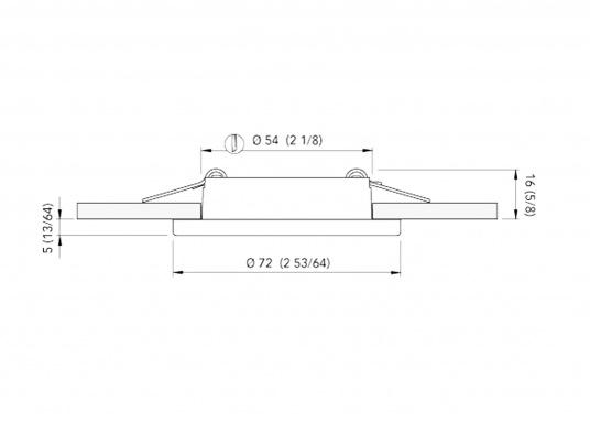 LED ceiling light with round frame in polished or satin finish or stainless steel, fitted with an anti-shock material diffuser.  (Image 3 of 3)