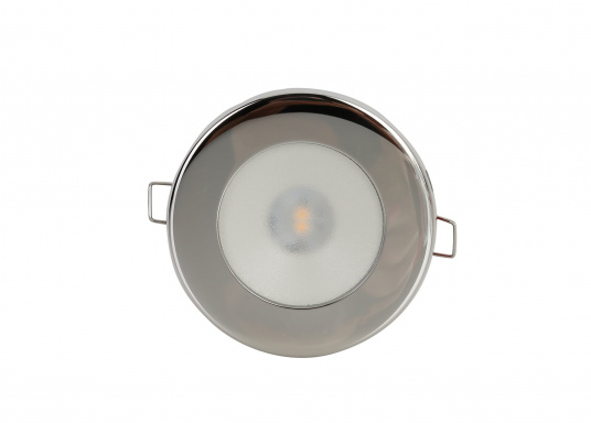 LED ceiling light with round frame in polished or satin finish or stainless steel, fitted with an anti-shock material diffuser.