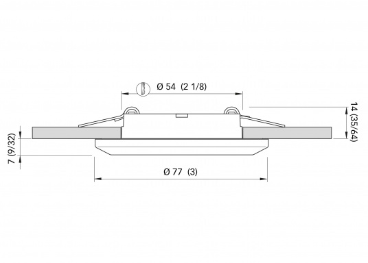 LED Deckenleuchte mit rundem Rahmen, gefertigt aus Edelstahl.Ausgestattet mit Diffusor. Ideal für Decken- und Wandmontage geeignet. Erhältlich in Edelstahl, poliert.  (Bild 3 von 5)