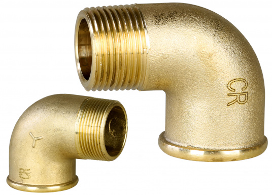 Pipe elbow 90°, made of brass CR, with female/male thread. Available in different sizes.