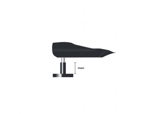 Der Aufbausockel erlaubt die Montage des Autopiloten auf waagerechter Oberfläche. Die unterschiedlichen Höhen gleichen den Abstand zwischen Montagefläche und Pinne aus. Erhältlich in verschiedenen Größen. (Bild 6 von 6)