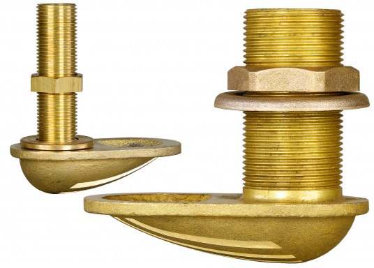 Water intake / thru hull with strainer, made of brass CR. Available in different sizes.
