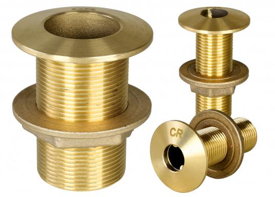 Thru hull fittings, made of brass CR. Available in different sizes.
