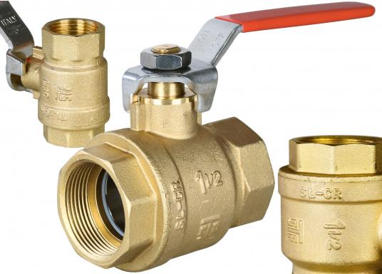 Full bore ball valve. Housing made from brass CR. Available in different sizes. (Image 2 of 2)