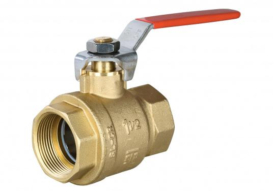 Full bore ball valve. Housing made from brass CR. Available in different sizes.